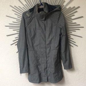 Marmot Membrain gray plaid rain jacket size M